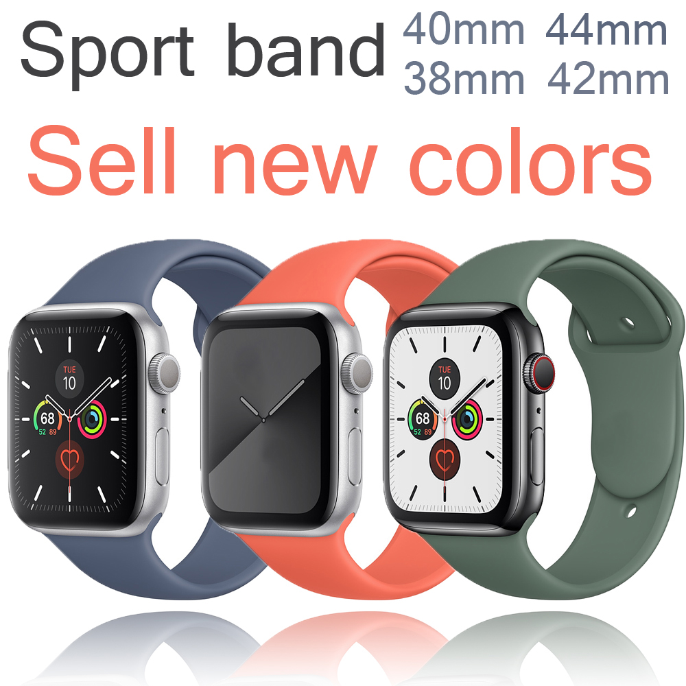 Silicone Strap For Apple Watch Band 40mm 44mm 42mm 38mm Apple Watch 4 Apple Watch 5 Correa Iwatch Watchband Watch Accessories