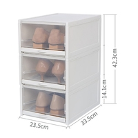 3PCS Plastic Transparent Shoes Storage Box Household Shoes Finishing Box Stackable Drawer Type Flip Storage Box