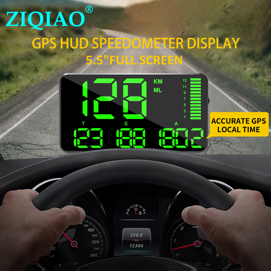 <font><b>GPS</b></font> Speedometer C90 Driving Time Speed Hud Display KM/h For Car Bike Motorcycle Universal <font><b>GPS</b></font> Overspeed Alarm ZIQIAO C80 <font><b>C60</b></font> image