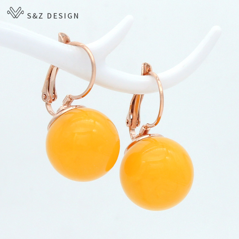 S&Z DESIGN Korean Fashion Big Round Imitation Pearl Beeswax Dangle Earrings For Women Jewelry 585 Rose Gold White Gold Eardrop(China)