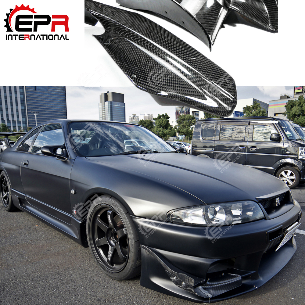 For Nissan Skyline R33 GTR AS Style Carbon Fiber Black Glossy Finished Front Bumper Canard Accessories Exterior Body kits bumper front bumper for car bumper nissan - title=
