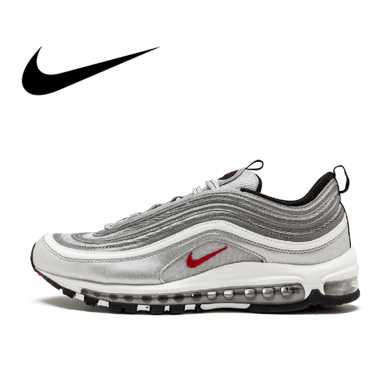 Original Nike Air Max 97 OG QS RELEASE Männer Laufende Schuhe der Offiziellen Echte Atmungsaktive Outdoor Sport Schuhe Neue Ankunft 884421