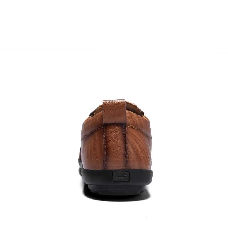 Slip on mężczyźni przyczynowe skórzane buty męskie mieszkania oddychająca Loafer buty do jazdy samochodem buty łodzi duży rozmiar męskie mokasyny Sneaker 2019 nowy