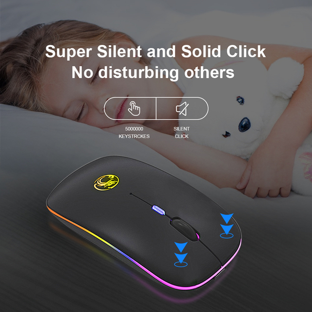 Wireless Mouse RGB Bluetooth 5.0 Mouse Computer Mouse Ergonomic Silent Mause Rechargeable Luminous Optical Mice For PC Laptop 5