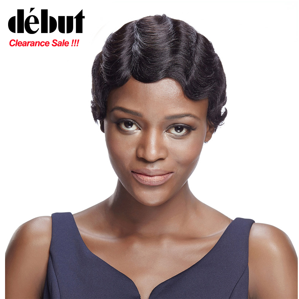 Debut Short Bob Wigs Brazilian Remy Human Wigs For Black Women Short Pixie Cut Wig Colored Curly Human Hair Wig Free Shipping