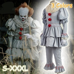 Joker Pennywise Cosplay Costume With Mask Stephen King It Chapter Two 2 Horror Clown Halloween Party Costume Prop