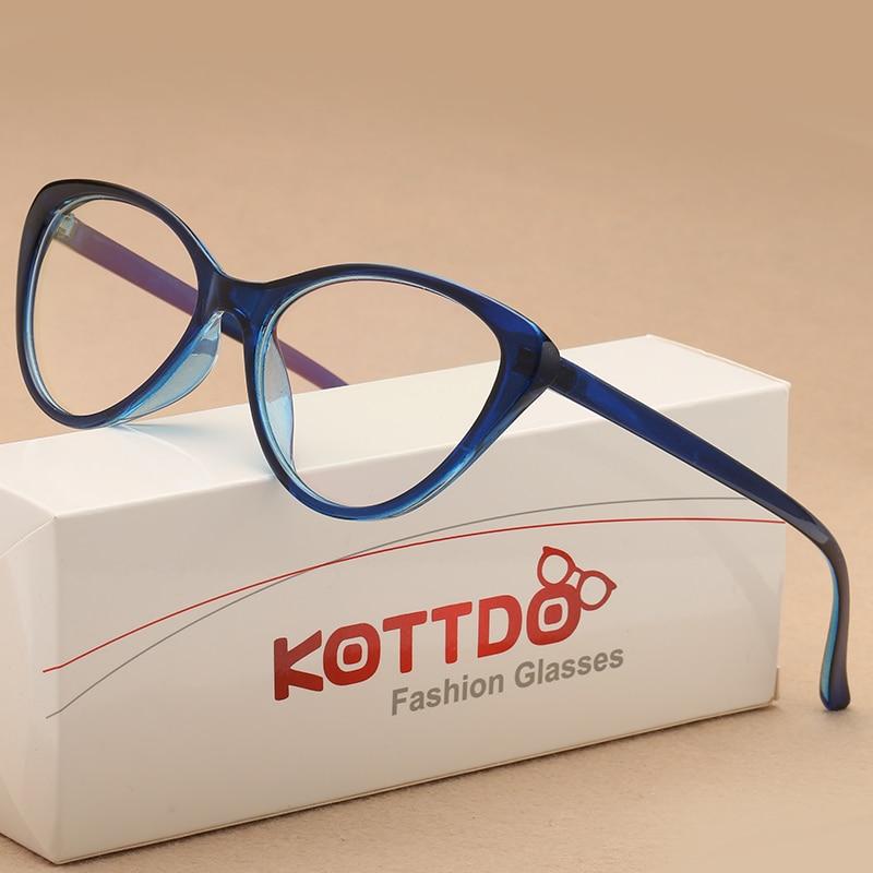 KOTTDO Fashion Vintage Cat Eye Glasses Frame Women Eyeglasses Optical Plastic Clear Lens Myopia Glasses For Unisex Eyewear