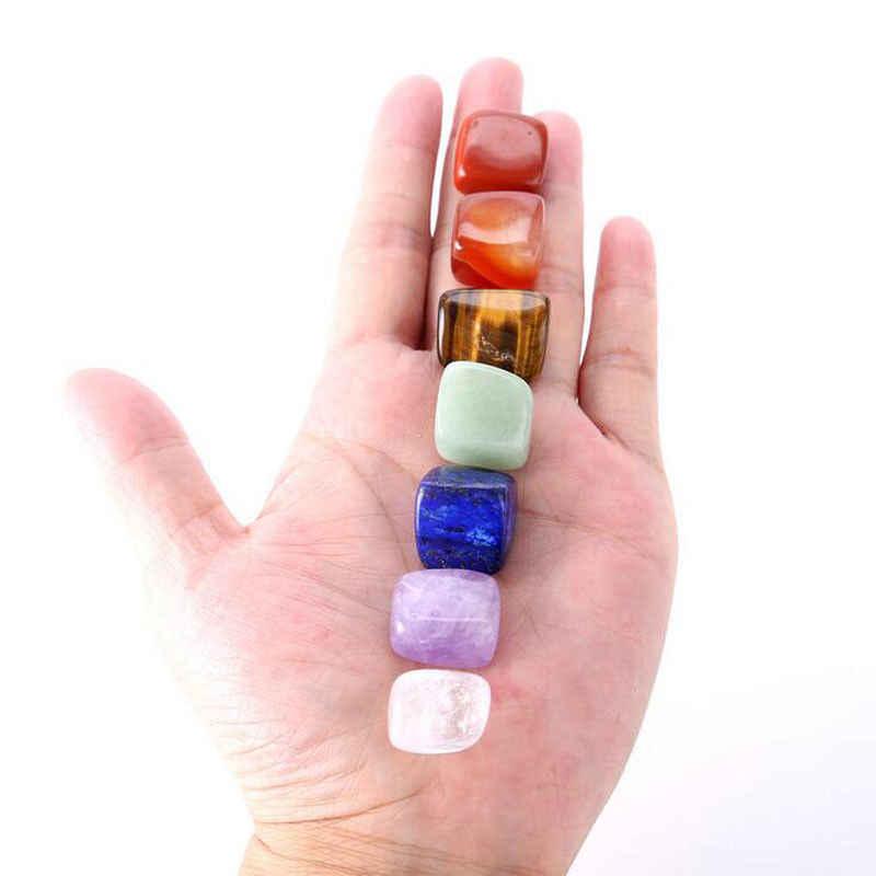 7 ชิ้น/เซ็ต Chakra ธรรมชาติ Reiki Healing ควอตซ์ไม่สม่ำเสมอหินขัด