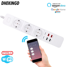 2 Type-c USB Smart Wifi Power Strip with  EU 3 AC Outlets Charging Station Work echo Alexa Google Home IFTTT Plugs