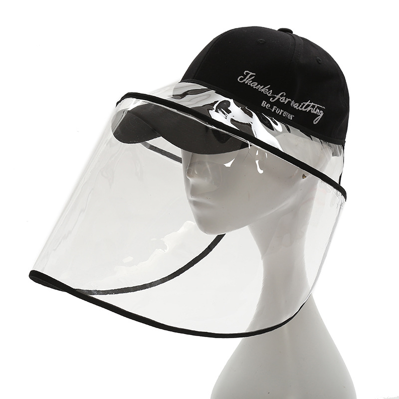 1 anti-virus mask PVC shield dust-proof transparent mask sun hat fisherman hat unisex with any hat