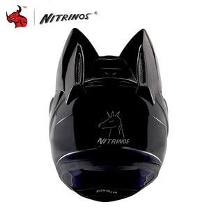 Image 2 - NITRINOS Motorcycle Helmet Women Personality Moto Capacete Black Helmet Full Face Moto Helmet Fashion Motorbike Helmet