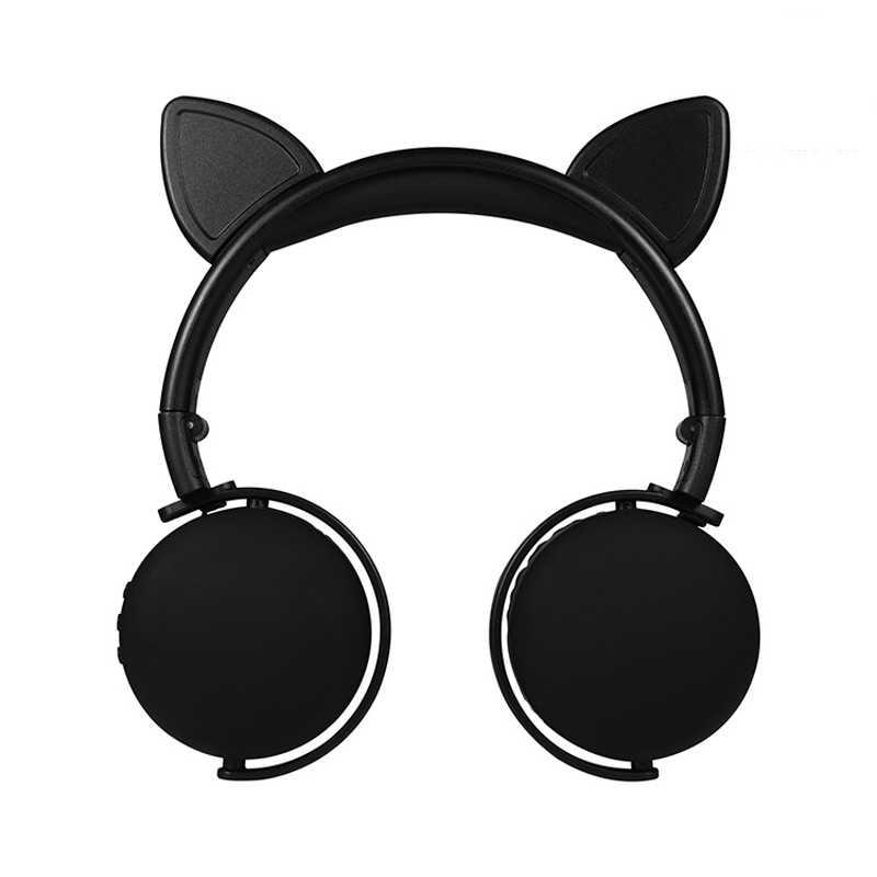 น่ารักหูฟังบลูทูธหูหญิงหูฟังไร้สายสเตอริโอแมวหูชุดหูฟังพร้อมไมโครโฟนสำหรับสาวเด็ก
