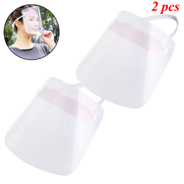 1/2/4/10 PCS Full Face Shield Mask Clear Flip Up Visor Protection Safety Work Guard For Droplet, Dust,Oil Fume(Pink) 2