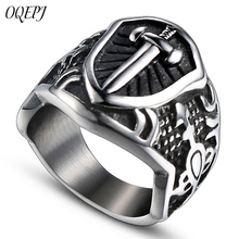 OQPEJ Vintage Iron Knights Templar Cross Rings Stainless Steel Catholic Solomon Temple Ring High Quality Jewelry Biker Gifts