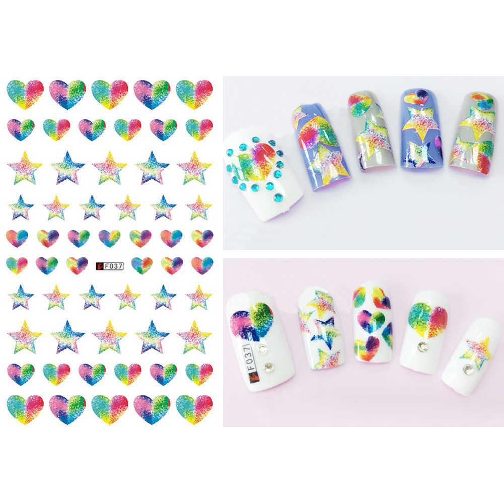 DIY arcoíris corazón estrella una flor chor geométrica arte de uñas pegatina acrílico punta calcomanía 1 hoja de pegatinas de transferencia de manicura para DIY
