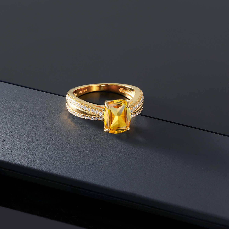 GemStoneKing 2.33 CT Cushion ธรรมชาติ Citrine แหวน 18K สีเหลืองทองชุบ 925 เงินแหวน