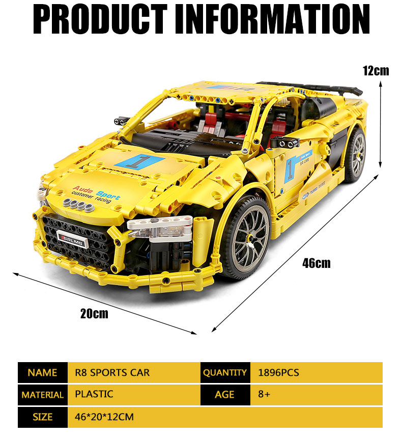 MOULD KING Compatible 13127 MOC-4463  Audis R8 V10 Speed RS5 Car Building Block (1896PCS) 10