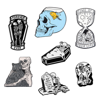 Skull Skeleton Lapel Pins Sad Couple Forever Love Until Death Brooches Badges Bag Clothes Enamel Pins Jewelry Gifts For Lover image