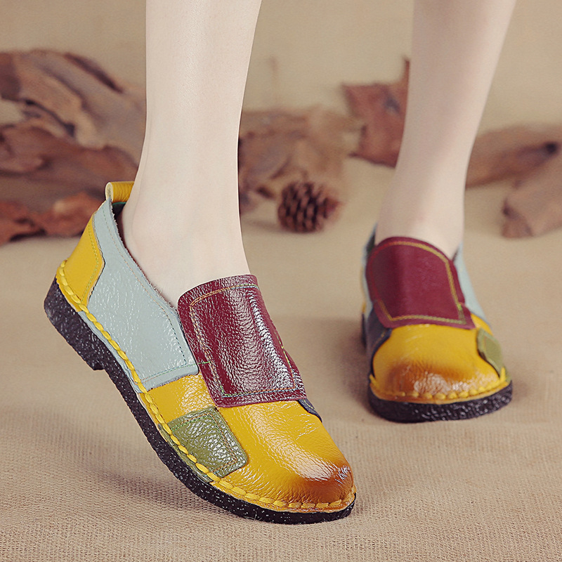 Womens Mother Shoes Flats Soft Genuine Leather Loafers Mixed Color Non Slip On Ladies Casual Shoes Female Plus Size 35-42 PW99