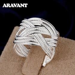 2020 nowy 925 srebrny splot otwarty regulowany pierścień dla kobiet moda biżuteria