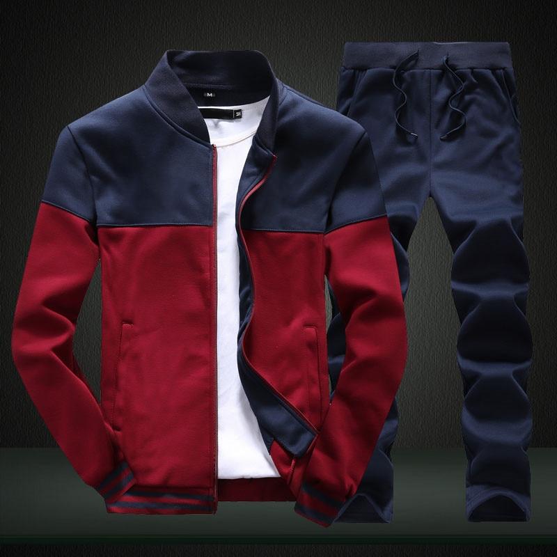 2020 New Men Sets Fashion Sporting Suit Brand Patchwork Zipper Sweatshirt +Sweatpants Mens Clothing 2 Pieces Sets Slim Tracksuit 4