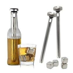 Chłodziarka do piwa w sztyfcie i blok lodu ze stali nierdzewnej do chłodzenia napojów piwnych  2 kije i 4 kostki lodu
