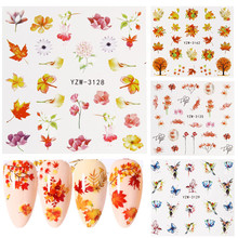 1 Sheet Maple Leaf Nail Art Sticker Nail Water Sliders Decal Nail Tips Leaves Manicure Decoration Nail Beauty Accessories full beauty 1pc black flower vine nail water sticker leaf lace design slider nail art decal beauty foils decoration chstz645 658