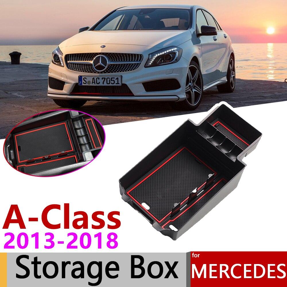 For Mercedes Benz A-Class W176 A180 A200 A220 A250 A45 AMG 2013~2018 Of Armrest Box Storage Car Organizer Accessories 2015 2017