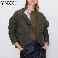 YNZZU 2019 Autumn Winter Women Parkas Cool Basic Bomber Jacket Women Army Green Fleece Coat Warm Loose Outwear A1224
