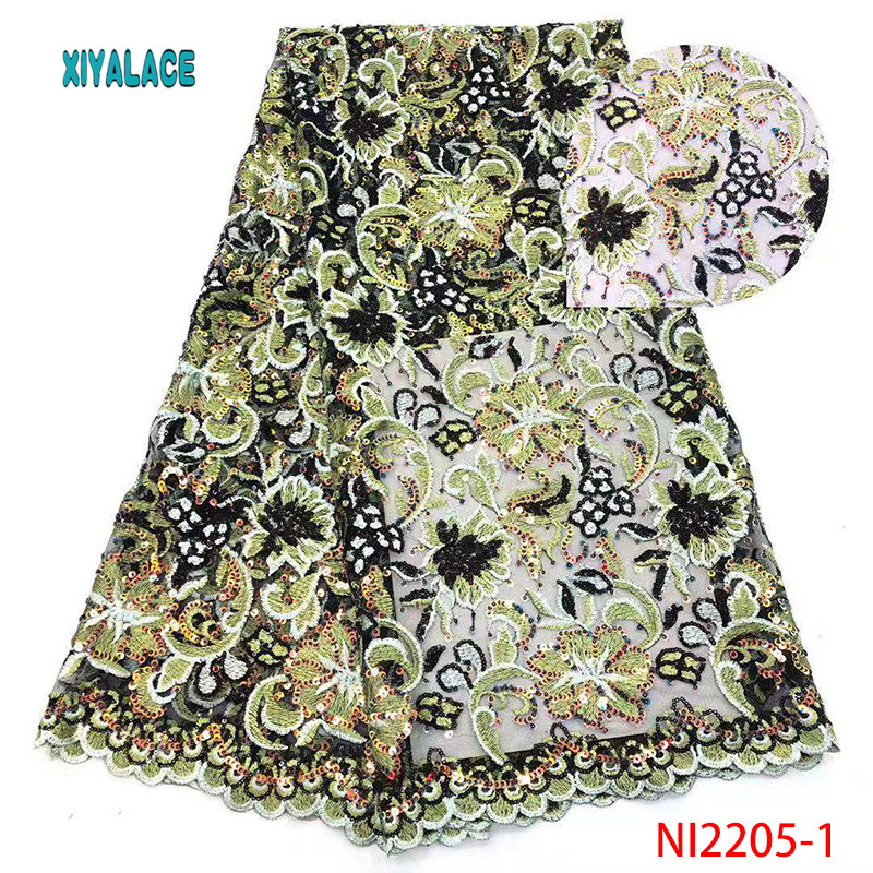 2019 African Lace Embroidered High Quality Switzerland Lace Sequins Lace Net Fabric French Bridal Lace For Dress YANI2205-1