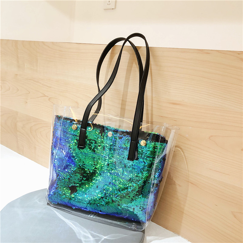 MONNET CAUTHY New Female Bags Casual Fashion Office Ladies Shoulder Bag Solid Color Khaki Sequin Green White Black Girls Totes in Shoulder Bags from Luggage Bags