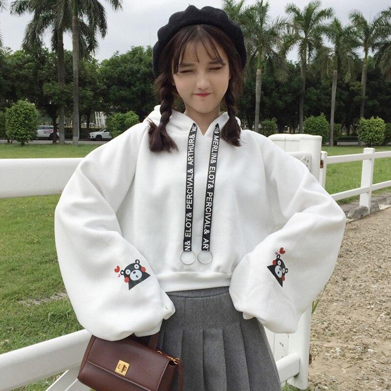 Harajuku Autumn Winter Women Hoodies Cute Bear Print Girls Hoodies Loose Plus Velvet Sweatshirt Long Sleeve Pullovers Tops
