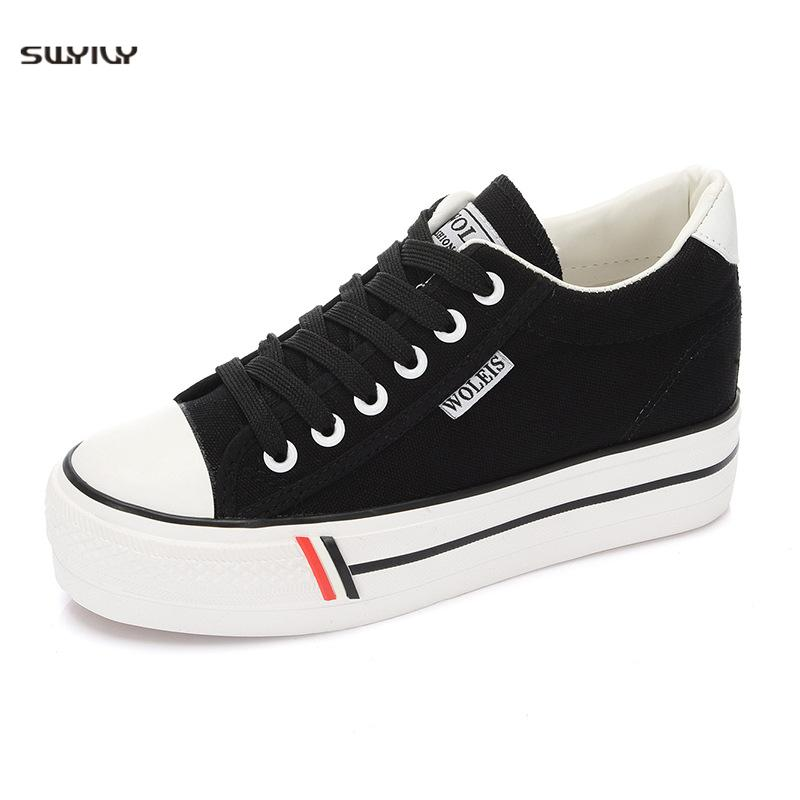 SWYIVY Women Platform Sneakers Casual Canvas Shoes Woman Sneakers Female Lace Up Vulcanized Shoes Canvas Thick Bottom Flats