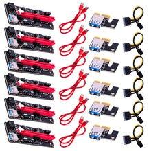 6pcs più recente VER009 USB 3.0 PCI-E Riser VER 009S Express 1X 4x 8x 16x Extender Riser Adapter Card SATA 15pin a 6 pin cavo di alimentazione