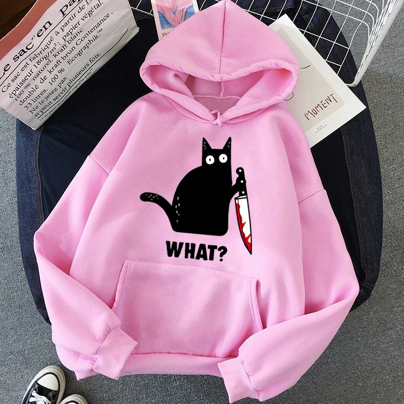 2020 Autumn Winter Fleece Women's Sportswear Harajuku Print Funny CAT WHAT Hip Hop Clothing Streetwear Hoodies Sweatshirt