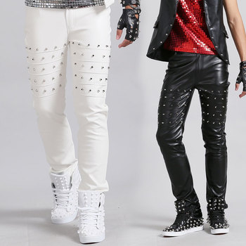 New male singer personality stage rivet leather pants European and American rock dj motorcycle leather pants costumes clothing