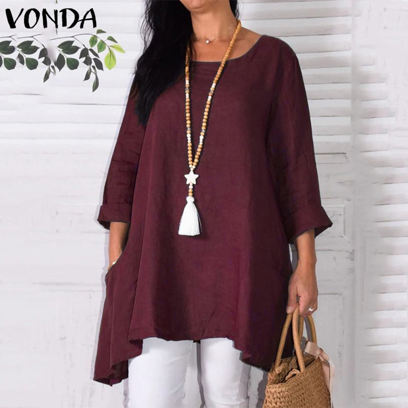 VONDA Women 2019 Autumn Long Sleeve Casual Loose Cotton Shirts Crew Neck Blouse And Tops Baggy Tunic Solid Color Blusa Plus Size