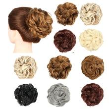 цена на XJBB Drawstring Short Synthetic Hair Bun Elastic Rubber band Chignon Curly Bun Wig Hairpiece For Women