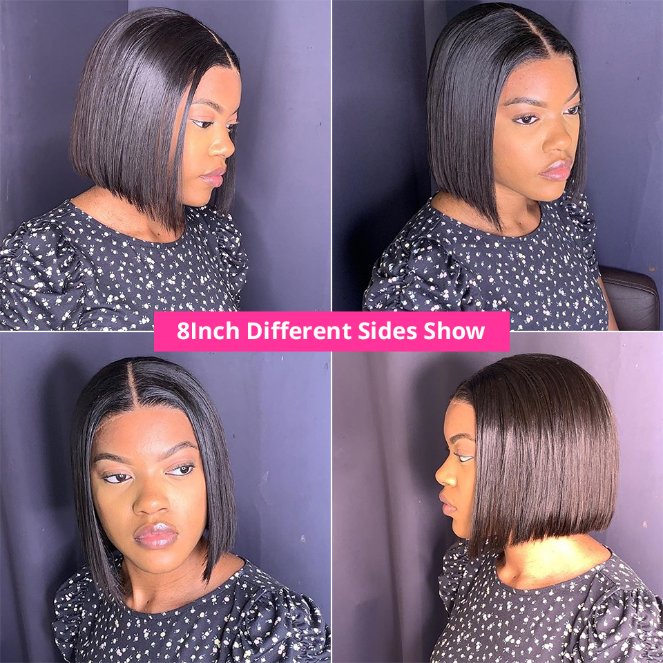 Short Bob Wigs Straight Lace Front Human Hair Wigs For Women Pre Pluck With Baby Hair 13x4 Lace Front Wig Glueless Lace Wig Remy 2