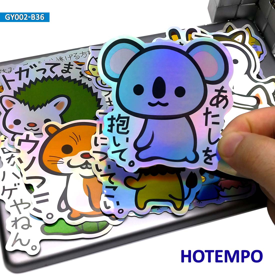36pcs Cute Anime Slogan Animal Colorful Laser Style Stickers For Children Kid DIY Mobile Phone Laptop Luggage Skateboard Sticker