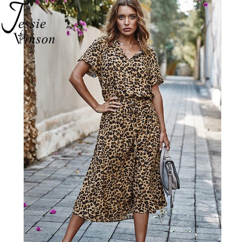 Jessie Vinson Short Sleeve V-neck Leopard Print Long Dress Women Vintage Adjustable Waist Summer Dresses Casual Dress Vestidos