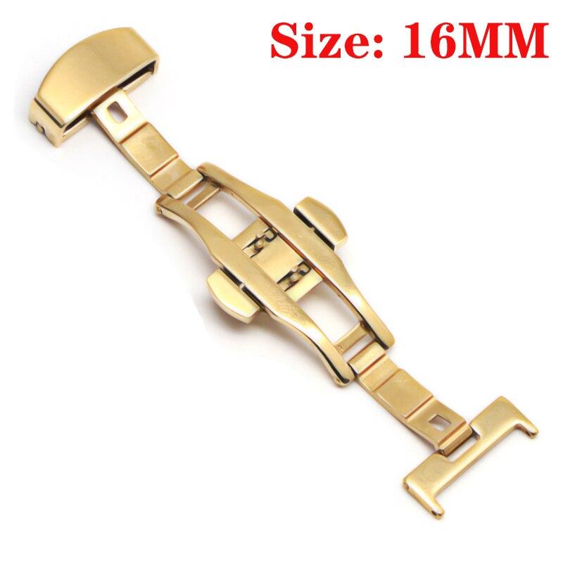 Пряжка с бабочкой, автоматический двойной клик, застежка из нержавеющей стали, ремешок для часов, ремешок, 16 мм, 18 мм, 20 мм, 22 мм, застежка для часов - Цвет: Gold-16MM