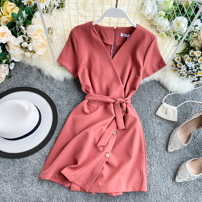 FMFSSOM New Edition Cultivate Morality Short Sleeve Suit Collar Tall Waist Conjoined Shorts Show Thin Wide-legged Pants