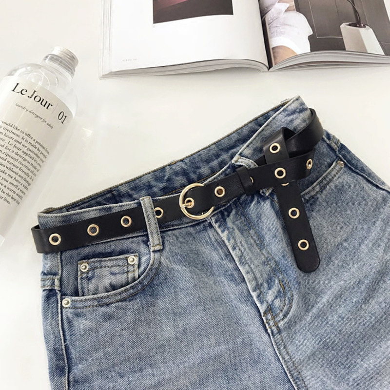 Korea 2019 New Metal Punk Circle Ring Belt Ladies Wild Simple Retro Rivet Belt