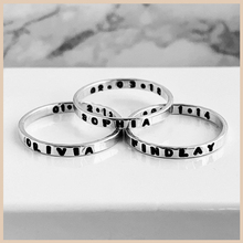 XiaoJing 100% 925 Sterling Silver Personalised Ring Name Secret Message Stacking Rings Custom Jewelry for Gifts 2019 Hot sale