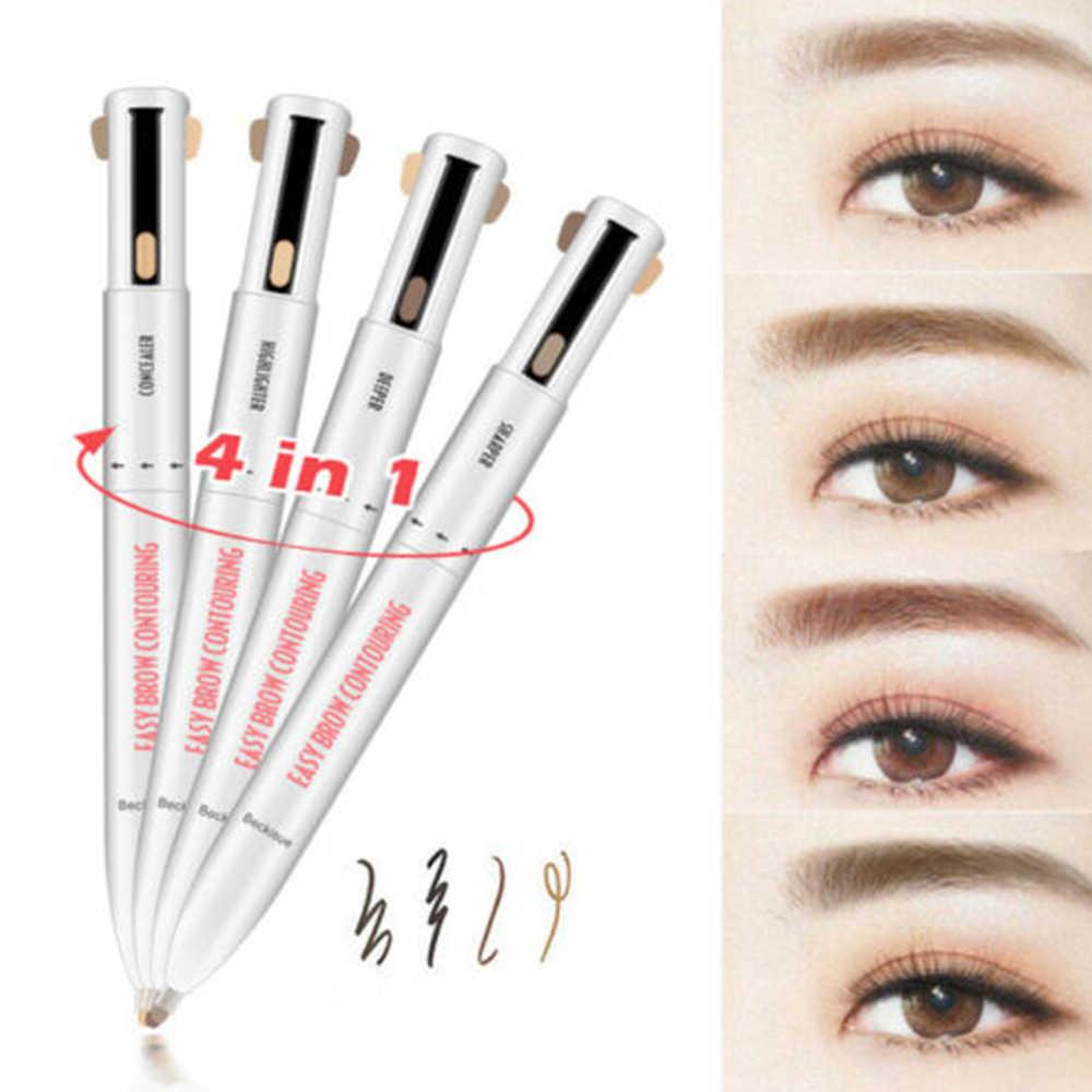 4-In-1 z czterema pazurami oko kredka do brwi kontur definiowania podkreślając Eyeliner Eye kredka do brwi wodoodporna naturalny brwi cienki pędzelek kosmetyki