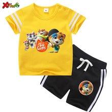 Crianças conjunto de roupas para meninas verão esporte casual outfits criança bebê menino tshirt + shorts ternos 44 gatos frescos tshirt dos desenhos animados 7t