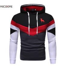 Miicoopie 2019 Mens Hoodie Fashion Patchwork Christmas Moose Print Pullover Sweatshirt christmas digital print pullover hoodie
