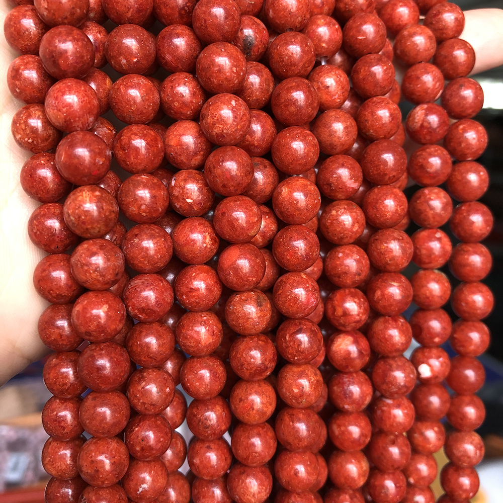 6-16MM <font><b>Red</b></font> Grass <font><b>coral</b></font> Beads Round Loose Spacer Accessories Stone Beads For Jewelry Making DIY Bracelet Necklace 15