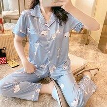 Spring Pajama Sets Pijama Sexy Cotton Sleepwear Women Summer Large Size Pyjama Femme Sleep